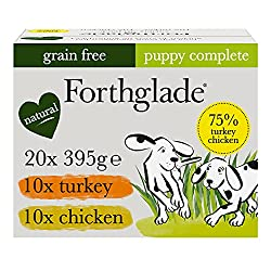 WET DOG FOOD: 20 x 395g trays of grain free dog food suitable for puppies aged 2-12 months, in two tail waggingly good flavours - Chicken & Turkey NATURAL INGREDIENTS: Bursting with goodness and made using natural ingredients, with added vitamins, mi...