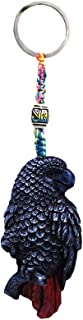 African Gray Parrot Tropical Bird Animal Handpainted Figurine Dangle Handmade Keychain Multicolored Braided Macramé Bead Silver Keyring Hanging Ornament Charm Car Bag Accessory