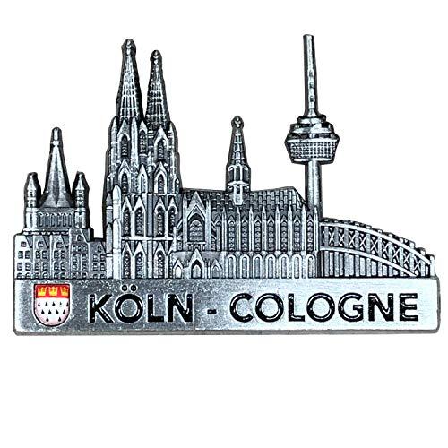 3forCologne Kühlschrankmagnet aus Metall, Kölner Skyline Magnet stark, als Deko für Kühlschrank Magnettafel Magnetwand, in Silber