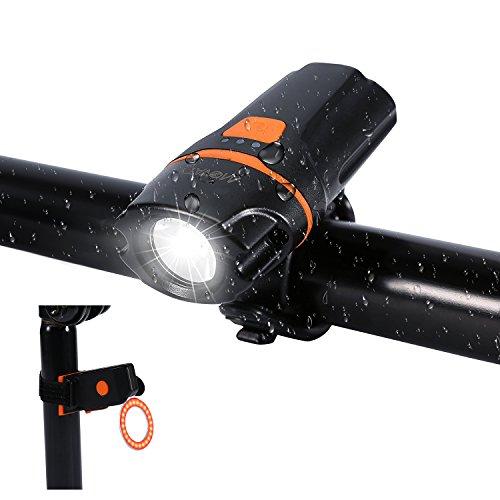 Movaty Luces para Bicicletas,Luces Bicicleta Delantera y Trasera, USB Recargable LED Bicicletas Luces,450 lúmenes, 3 Modos de Iluminación,Impermeable,Color Negro