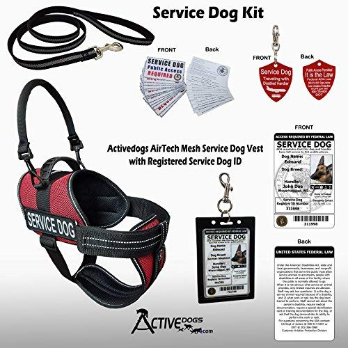 ActiveDogs Service Dog Kit Air-Tech Mesh Service Dog Red Vest Harness Size Medium Red + Free Registered Service Dog ID + Clip-on Bridge Handle + ADA/Federal Law Cards + Service Dog Travel Tag