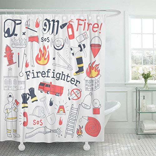 Aliyz Red Alert Feuerwehrmann Freihand Graffiti Feuerwehrmann Feuerlöscher und Ausrüstung Muster Badezimmer Duschvorhang Trennwand Vorhang Dekoration Hause langlebig leicht zu reinigen