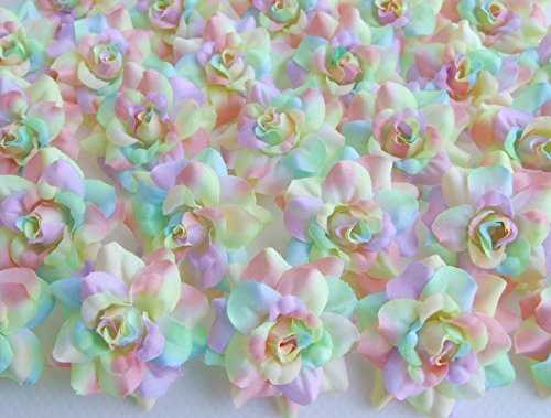 (50) Silk Rainbow Pastel Tones Roses Flower Head - 1.75' - Artificial Flowers Heads Fabric Floral Supplies Wholesale Lot for Wedding Flowers Accessories Make Bridal Hair Clips Headbands Dress