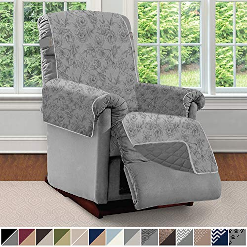 Sofa Shield Original Patent Pending Reversible Small Recliner Protector, Seat Width to 25 Inch, Furniture Slipcover, 2 Inch Strap, Chair Slip Cover Throw, Recliner, Vintage Floral Lt Gray Charcoal