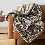 Amazon Basics Fuzzy Faux Fur Sherpa Throw Blanket, 60'x70' - Brown Leopard