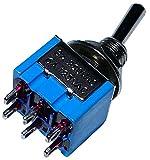AERZETIX: Interruptor conmutador de palanca DP3T ON-OFF-ON 3A/250V, 3 posiciones C10566...