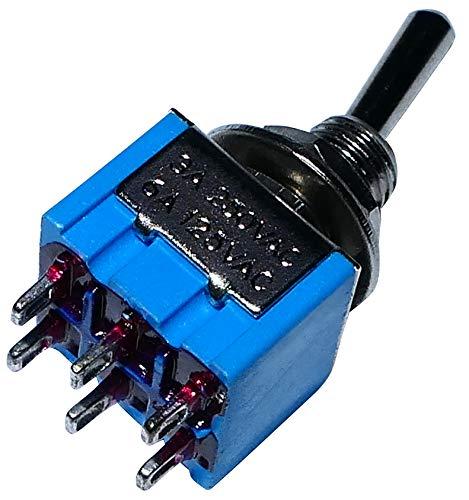 AERZETIX: Interruptor conmutador de palanca DP3T ON-OFF-ON 3A/250V, 3 posiciones C10566