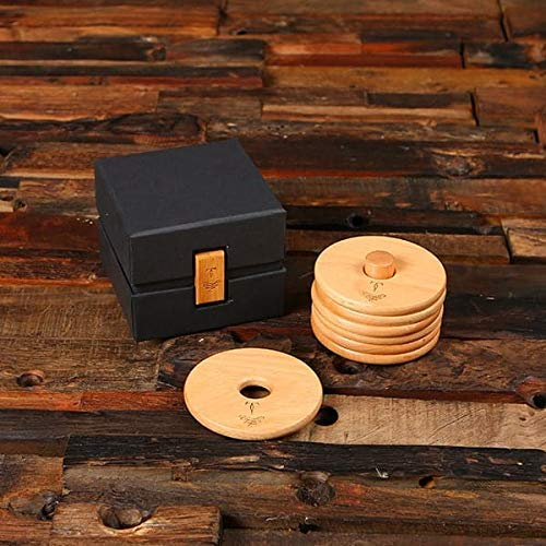 Branded Super special price Great interest Beech Wood Coasters with Stand Box L Bamboo in Gift