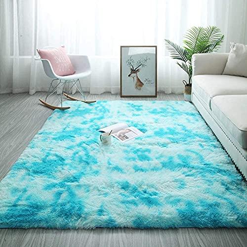 YSDS-JZ Modernes Design Rechteckiger Rutschfester Super Weicher Flauschiger Blau-Weißer Teppich Ist Leicht Zu Reinigen Und Zu Pflegen,60CM*160CM