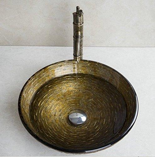 Gowe Sandstein Stil Rund Waschbecken aus Sekuritglas mit Badezimmer Wasserfall Wasserhahn und Pop Up Ablauf Waschbecken Set