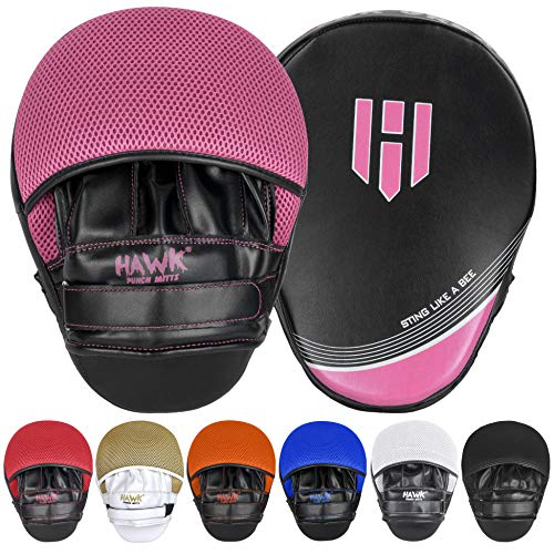 Punching Mitts Kickboxing Muay Thai MMA Boxing Mitts Training Focus Punch Mitts Bags Hand Target Pads for Kids, Men & Women (Pair) (Pink)