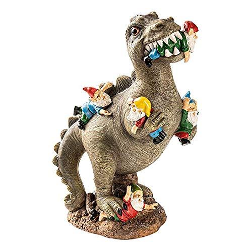 Napacoh Statua di nani da giardino, decorazione per esterni, dinosauro, mangiatoie da giardino, statua per patio, prato, arte decorativa per cortile, decorazione artistica