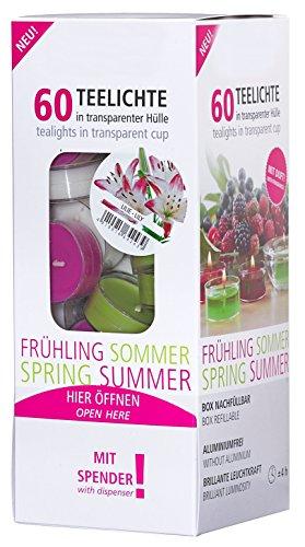 Smart Planet® - Velas ambientales - 60 unidades de velas de té aromáticas en dispensador - flor de lirio - funda transparente - 4 horas de combustión