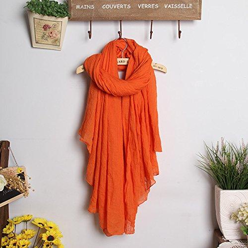 BAGEHUAN Baumwolle und Leinen Schal Frauen Lange Winter Farbe großen Schal mit doppeltem Frühjahr und Herbst Reisen Wild Schal Studenten, Orange