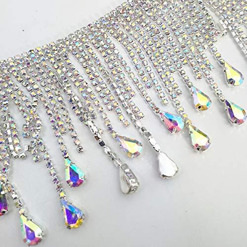 Crystal Applique Rhinestone Bridal Trim Fashion Chain Fringe Embellishment (AB Color)