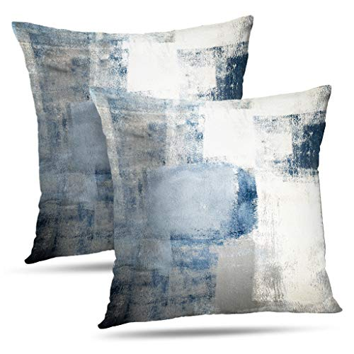 Alricc Set of 2 Blue and Grey Art Artwork Contemporary Decorative Gray Home Decorative Throw Pillows...