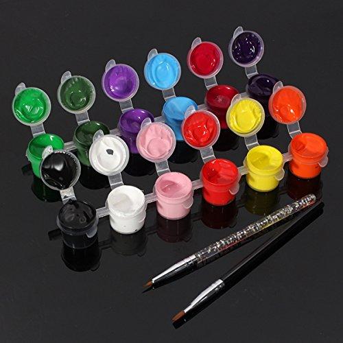 Bluelover 12 Colores Puro Uñas Arte Acrílico Pintura Pigmento Pincel Pen Set