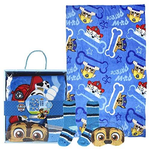 Cerdá Set Regalo Manta Paw Patrol Calentadores, Azul (Azul 36), One Size (Tamaño del Fabricante:única) para Niños
