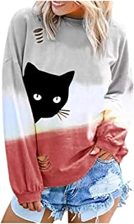 2019 Fashion Loose Casual Blouse for Women,QueenMM Women's Long Sleeve Tie Dye Color Block Pullover Shirt Halloween Tops