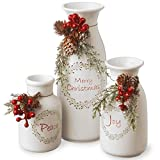 National Tree Company Pre-lit Artificial Christmas 3-Piece Set Flocked with Mixed Decorations - Ceramic White Bottles pre lit christmas trees Jan, 2021