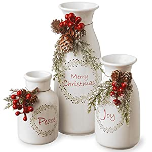National Tree Company Pre-lit Artificial Christmas 3-Piece Set Flocked with Mixed Decorations, Ceramic White Bottles