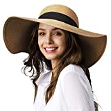 Wide Brim Sun Straw Hats for Women UPF 50 Foldable Roll up Floppy Summer Beach Hat