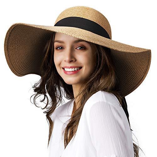 Wide Brim Sun Straw Hats for Women UPF 50 Foldable Roll up Floppy Summer Beach Hat Khaki