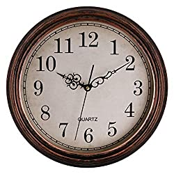 Lumuasky 13 inch Large Silent Non-Ticking Round Classic Clock Retro Quartz Decorative Battery Operated Wall Clock for Living Room Kitchen Home Office (Bronze)