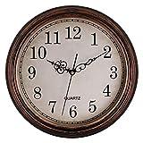 Foxtop Reloj de pared de cuarzo clásico redondo silencioso de 33 cm, funciona con pilas, para sala de estar, cocina, hogar, oficina (bronce)