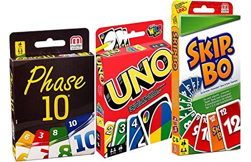 div Mattel W2087-DNX30-52370 Bundle - 3-er Set Kartenspiele: UNO, Skip BO und Phase 10