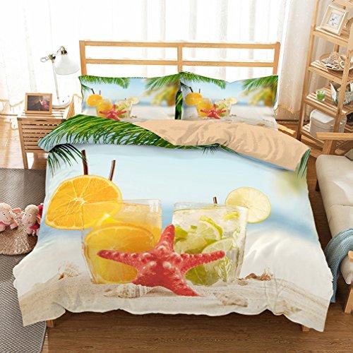 YAOL Ropa de cama 3D hermoso Beach Ocean Designs funda nórdica infantil con cremallera (P1, 200 x 200 cm + 2 fundas de almohada 75 x 50 cm)