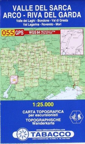 By Tabacco Casa Editrice Valle del Sarca, Arco - Riva del Garda 055 GPS (CARTES TOPOGRAHIQ - 1/25.000) Map - June 2011