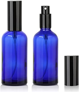 4oz Glass Spray Bottle, Perfume Atomizer - Empty Refillable Blue Bottles with Black metal Fine Mist Sprayers - 2 Pack