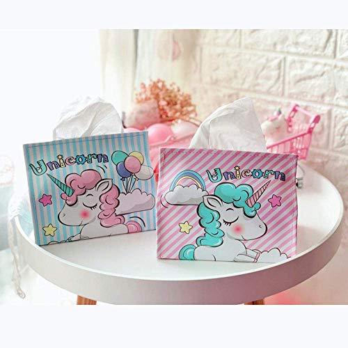 Cartoon schattige unicorn tissue box Servethouder woondecoratie papieren handdoek houder sieraden doos draagbare roze opbergdoos-fense LOLDF1 (Color : Fense)
