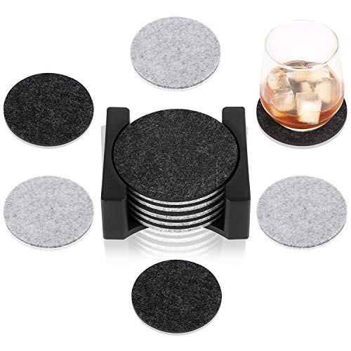 KADI Felt Absorbent Coasters for Drinks Suit Any Table Type, Wood, Granite, Glass, Marble Table Top, Apartment Office Kitchen Living Room Coffee Bar Housewarming Decor (Round, Grey/Black)