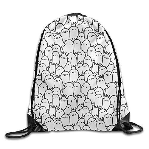uykjuykj Tunnelzug Rucksäcke, Spooks Drawstring Backpack Rucksack Shoulder Bags Training Gym Sack Man Women Lightweight Unique 17x14 IN