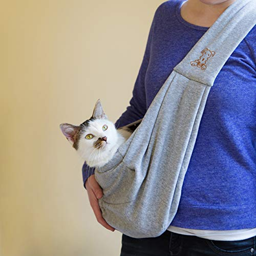 iPrimio Dog and Cat Sling Carrier - Hands Free Reversible Pet Papoose Grey Bag - Soft Pouch and Tote Design - Suitable for Puppy, Small Dogs, and Cats for Outdoor Travel