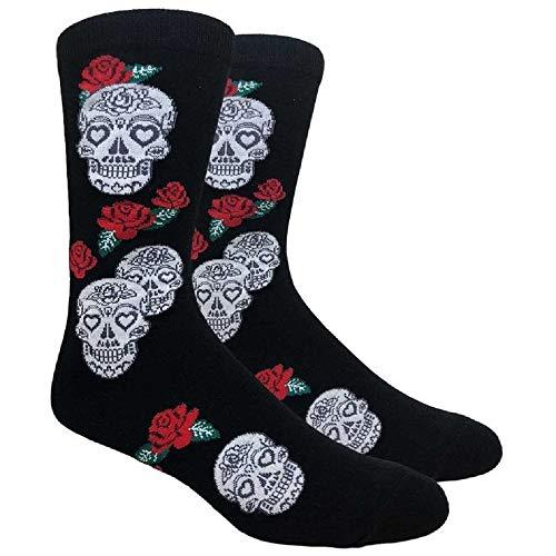 Dia De Los Muertos Socken mit Totenkopf & Rosen, Einheitsgröße