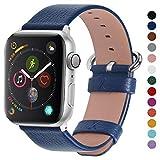 Fullmosa Apple Watch対応 バンド ベルト アップルウォッチバンド42mm/44mm apple watch 5 4 3 2 1 バンド 本革レザー 交換バンド ラグ付き 42mm/44mm 紺青