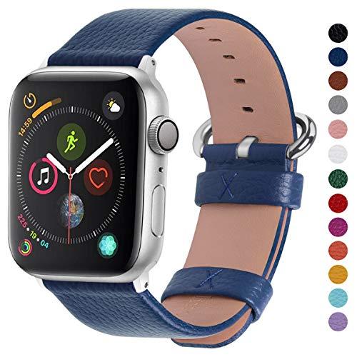 Fullmosa Compatibile Cinturino per Apple Watch 38mm/40mm e 42mm/44mm,15 Colori Yan Pelle Cinturino/Cinturini di Ricambio per Apple Watch,Cinturino per iWatch Series 5,4,3,2,1, Uomo e Donna, Blu Scuro