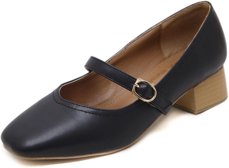 AdeeSu Womens Square-Toe Buckle Chunky Heels Urethane Pumps shoes