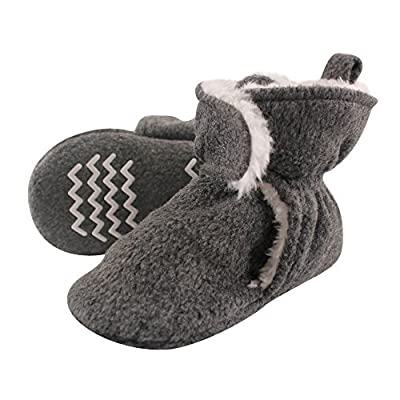 Hudson Baby Unisex Baby Cozy Fleece and Sherpa Booties, Heather Charcoal, 6-12 Months
