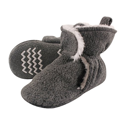 Hudson Baby Unisex Baby Cozy Fleece and Sherpa Booties, Heather Charcoal, 0-6 Months