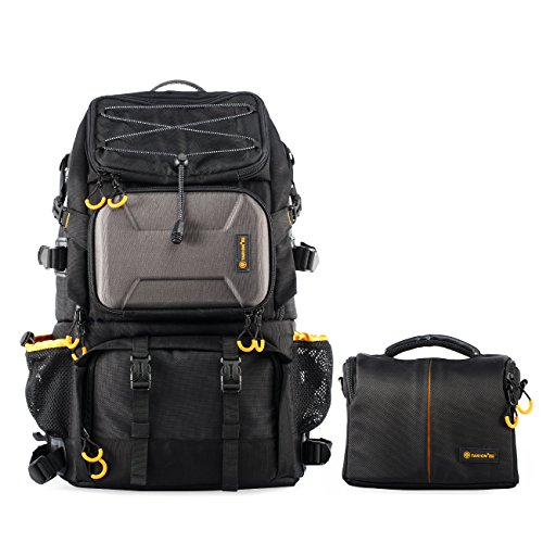 TARION Pro 2 Bags in 1 Camera Backpack Large with 15.6' Laptop Compartment Waterproof Rain Cover Extra Large Travel Hiking Camera Backpack DSLR Bag