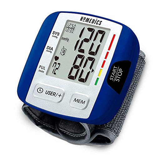 HoMedics Automatic Blood Pressure Monitor, Wrist | Smart Measure Technology | Battery Powered, One-Touch Operation | Irregular Heartbeat and Excessive Body Motion Detection, Memory Average Function