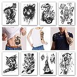 Kotbs 8 Sheets Temporary Tattoos Animals Tiger Skull Leopard Dragon Waterproof Temporary Tattoo Sticker Wolf Animals Tattoos Body Art Arm Hand Men Women Fake Tatoo