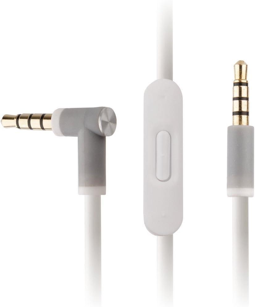 REYTID reemplazo de Cable de Audio Blanco Compatible con ritmos por dr Dre solo3 y Studio 3.0 Auriculares inalámbricos w/en línea Remoto & micrófono - Compatible con iPhone & Android