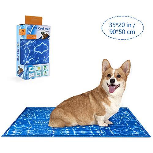 Nasjac Hundekühlmatte Auto Ice Pad Teddy Matratzenmatte Kleines großes Katzenkissen Sommer Cooles Bett Gel Haustier Cooles Mattenbett für Hunde, Wasserwellen (L) (L)