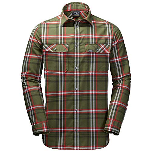 JACK WOLFSKIN Herren Hemd VALLEY SHIRT MEN, woodland green checks, L, 1402111-7825004