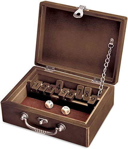 WE Games Shut The Box - Walnut Stained Wood Box